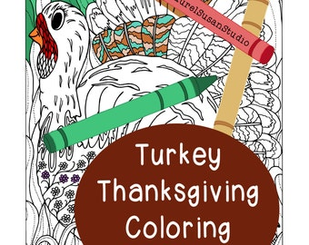 Thanksgiving Turkey Coloring Page, Adult Coloring Page, Turkey Feathers, Whimsical