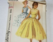 Vintage 50's Simplicity #2093 Jr Miss & Misses Sleeveless Dress Sewing Pattern , Full Circle 50s Dress Sewing Pattern Complete Partially Cut