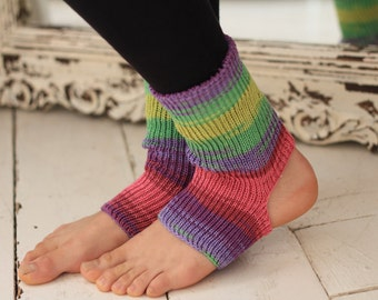 Yoga/Dancer's legwarmers - hand cranked and finished - CANDY STRIPE Purple Yellow Green Pink  Short socks with open heel one size fits all