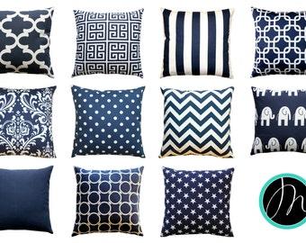 Nautical Pillows, Navy Blue Pillow Cover, All Sizes, Zippered Pillow, Blue Cushion Cover, Navy Beach Decor, Navy Decorative Throw Pillows