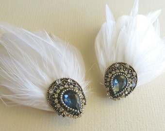 Shoe Clips, Something Blue, Wedding Shoe Clips, Bridal Shoe Clips, Rhinestone Shoe Clips, Feather Shoe Clips