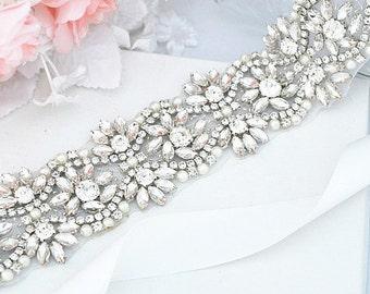 SALE Wedding Belt, Bridal Belt, Sash Belt, Crystal Rhinestones pearl sash belt