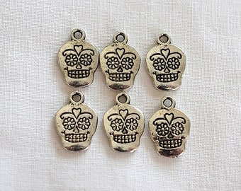 Sugar Skull Pewter Charm 17 x 10 mm Antiqued Silver Plated Jewelry Supplies - 6 Pieces