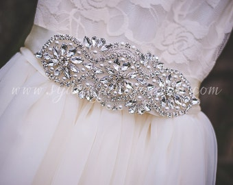 SALE Rhinestone Pearl Bridal Sash, Flower Girl Sash, Rhinestone Belt, Wedding Sash, Rhinestone Flower Girl Belt, Ivory White Wedding Sash