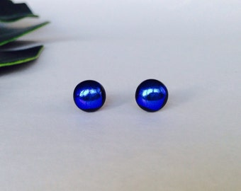 Bright Blue High Gloss Dichroic glass stud earrings, on sterling silver -  Fused duchroic glass