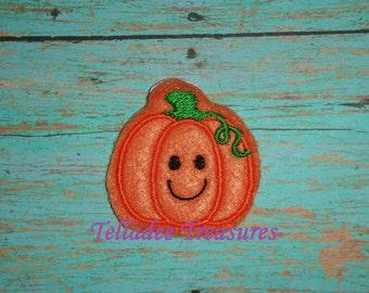 "Happy Pumpkin Feltie - 1 1/4"" small Orange felt - Great for Hair Bows or Crafts"