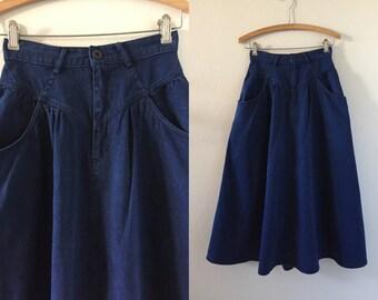 Vintage Calvin Klein denim midi skirt size XS extra small