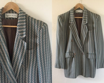 Worsted wool power blazer size medium 80s vintage