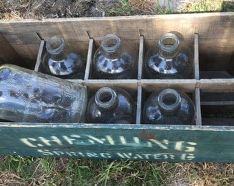 Vintage Water Bottle Set, Vintage Glass Water Bottles, Chemung Indian Embossed Spring Water Bottles, 6 Clear Glass Bottles With Crate