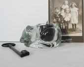 Vintage Cat Candle Holder, Glass Cat Votive Candle or Tea Lights, Sleeping Kitty