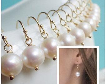 FIVE PAIRS Pearl earrings, Bridesmaid jewelry gift sets, Bridal gift sets, wedding jewelry sets, otis b, freshwater pearls, simple pearls