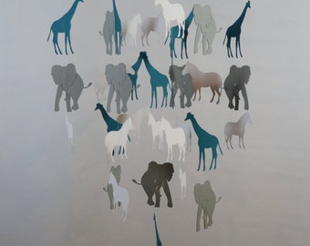 Safari Baby Mobile in White, Gray, Teal with Giraffes, Zebras and Elephants
