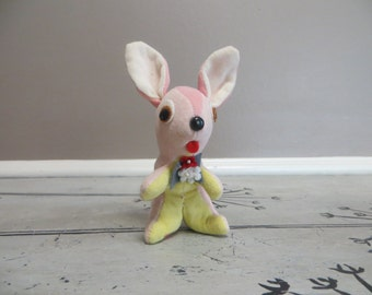 Dakin Dream Pets Bunny Rabbit Miniature Bunny Easter Bunny Pink Dream Dolls 1960s Stuffed Animal Mod Toys Velvet Poodle Mod Kitschy Decor