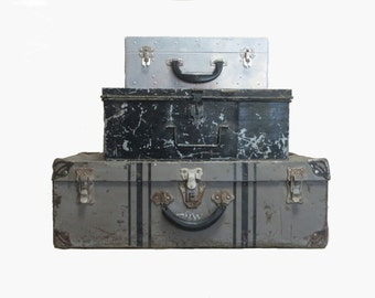 Metal Storage Boxes Metal Luggage Rustic Storage Stacking Luggage Industrial Storage Black and Silver Rustic Metal Decor Metal Trunk