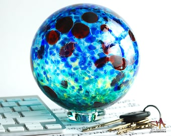 Hand Blown Glass Float - Impressionistic Blue and Green with Ruby Dots