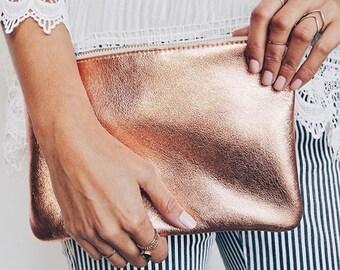 JANE Copper Clutch. Copper Leather Clutch. Soft Leather Clutch. Leather make up case