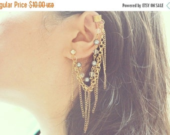 VALENTINES DAY SALE Gray and Clear Beads Chain Ear Cuff (Pair)