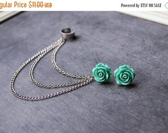 VALENTINES DAY SALE Aquamarine Rose Bloom Chain Ear Cuff Earrings (Pair)