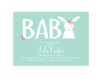 Sweet Baby Bunny Shower Invitation, Baby Boy or Girl, Baby Shower Invite, Sprinkle, Sip and See, Sip N See