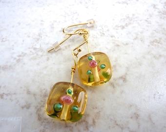 Flower Earrings, Lampwork Glass Earrings, Honey Gold Earrings, Painted Flower Earrings, Rose Earrings, 14k plated earrings