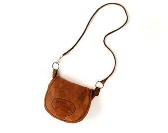 Vintage 1970's Brown Leather Mini Shoulder Satchel Rustic Boho Hippie Purse Handbag Bag