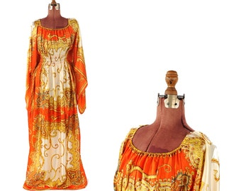 Vintage 1970's Gathered Waist Bohemian Angled Bell Sleeve Hippie Gold + Red Gypsy Festival Dress S M