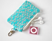 Woman's key chain coin pouch padded gadget change purse in aqua green and white dandelion flower print.