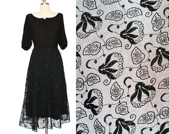 """Lace Rayon and Rhinestones Dress / Split Sleeves Dress / 1950s Dress / 1950s Black Dress / Lace Black Dress / 25"""" Waist / Extra Small XS"""