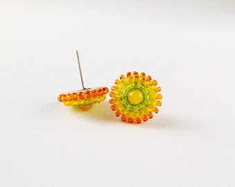 Yellow studs, beaded stud earrings, yellow orange green earrings, beadwork earrings, yellow post earrings, seed beads earings, small earings