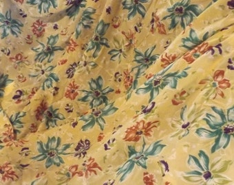 Over 3 yards 1930's or 40's silk or silk-like fabric, floral, green, purple, brown, yellow, 116 x 36, no holes or stains