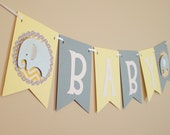 Elephant Baby Shower Banner, Gender Neutral, yellow and gray, Elephant Baby Shower Decoration, chevron and polka dots