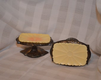 1970s Amerock Carriage House Pedestal Soap Dish Set of Two