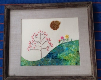 Nature scene with embroidered tree and flowers  / spring