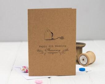 6th Anniversary Card - Sixth Wedding Anniversary Card - Iron Anniversary - Anniversary Card