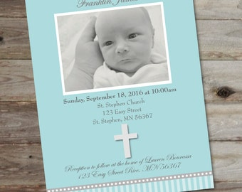 Baptism Invitation. Baby Boy Baptism Invitation. Teal Baptism Invite. Personalized Baptism Invite. Baby Baptism. Newborn Baptism Invite.
