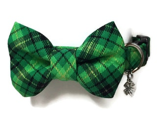 St. Patty's Plaid Bow Tie Dog Collar size Small