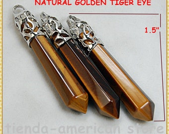 Natural  Golden TIGER EYE Gemstone Hexagonal Pointed Reiki Healing Chakra Pendiente de Ojo de Tigre   Protection AMULET . free gift bag!!
