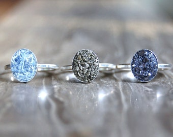 Crushed Crystal Druzy Sterling Silver OVAL Ring
