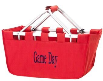 Monogrammed Red Market Basket, Monogrammed Red Market Tote, Red Tailgating Basket, Red Picnic Basket, Farmers Market Tote