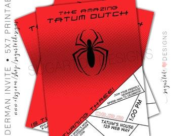 Spiderman Party Invitation, Spider Man Birthday Theme Invitation - Printable