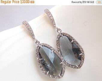 SALE Gray Earrings, Grey Earrings, Glass, Zirconia, Silver, Charcoal, Wedding Jewelry, Bridesmaid Earrings, Bridal Earrings, Bridesmaid Gift