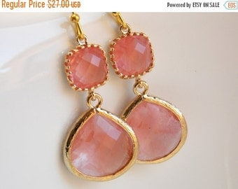 SALE Coral Earrings, Peach Earrings, Grapefruit, Champagne, Pink, Gold, Bridesmaid Jewelry, Bridesmaid Earrings, Bridal Jewelry, Bridesmaid
