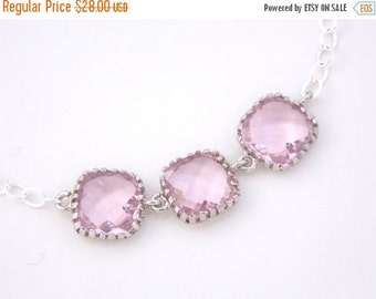 SALE Pink Necklace, Glass Necklace, Sterling Silver Necklace, Soft Pink Pendant, Light Pink, Bridesmaid Necklace, Bridal Jewelry, Bridesmaid
