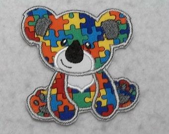 Koala Bear Autism Awareness Puzzle Piece (small) Tutu & Shirt Supplies - fabric iron on Applique Patch 8059