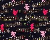 C217 - 140cmx100cm  Cotton  Fabric - Mickey and music notation on black background
