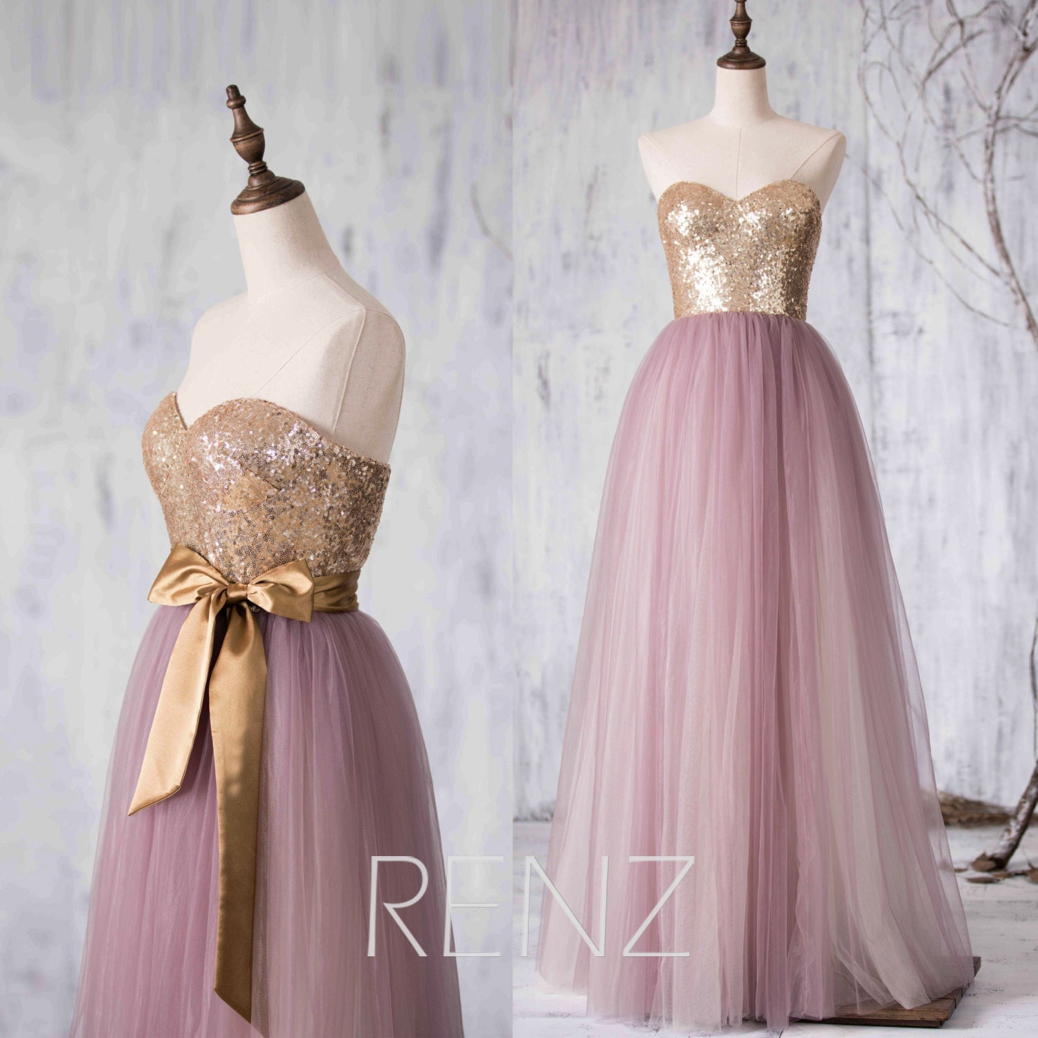 2016 Dusty Purple Mesh Bridesmaid dress Long Puffy by RenzRags