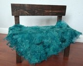 Teal Felted Curly Wool Fluff Layer/ Mat/ Basket Stuffer Photo Prop, Wool Baby Blanket/Wrap, READY TO SHIP