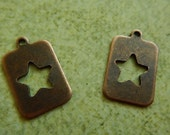 2 Antiqued Copper Rectangle Cut Out Star Charms Drops One Sided Focal Jewelry