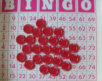 25 Red Plastic Bingo Markers - Game Piece Marker - Mixed Media - Altered Art
