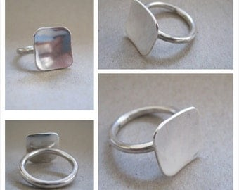Sterling Silver with sterling silver 12mm square top Stacking Ring - Made to Order